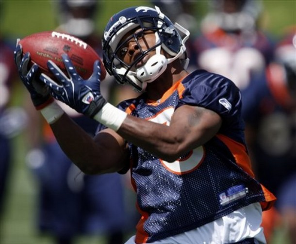 Eddie Royal pulls in a catch during Bronco's minicamp.