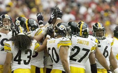 Steelers 2008 Defense huddles up