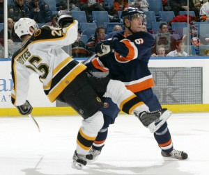 bruins islanders hit 300x252 NHL to Consider Eliminating Trapezoid