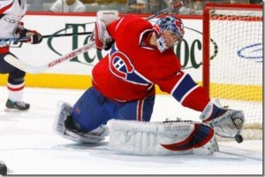 carey price save 300x200 Flames and Hawks Sputtering; Carey Price Sighting in Montreal