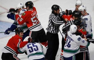 hawks vs canucks 300x193 Last Two Champs Battle Headlines West Round Two